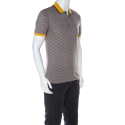 Gucci Brown GG Print Cotton Contrast Collar Skinny Fit Polo Shirt L