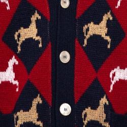 Gucci Multicolor Wool Equestrian Jacquard  Cardigan L