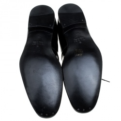 Gucci Black Patent Leather Lace Up Derby Size 45