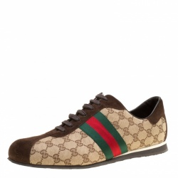 de6c1f4ae Gucci Beige Guccisima Canvas and Suede Web Detail Sneakers Size 46.5