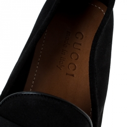 Gucci Black Suede Web Detail Slip On Loafers Size 40