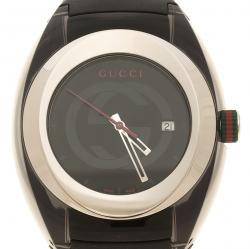 Gucci Black Transparent Nylon and Stainless Steel Sync Men's Wristwatch 46 mm