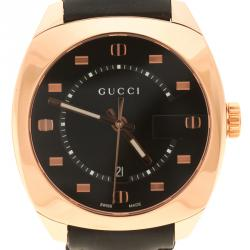 Gucci Black Dial Rose Gold Plated Stainless Steel 142.3 Men's Wristwatch 40 mm