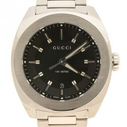 Gucci Black Stainless Steel 142.2 Men's Wristwatch 44 mm
