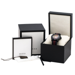 Gucci Black PVD Coated Stainless Steel Dive Tiger Embroidered 136.2 Men's Wristwatch 45 mm