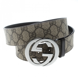 Gucci Beige GG Supreme Coated Canvas Interlocking GG Buckle Belt 95cm