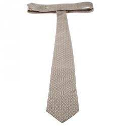 Gucci Beige Logo Patterned Jacquard Tie
