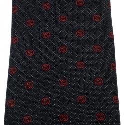 ربطة عنق تقليدية غوتشي حرير جاكارد بنقوش غوتشيسيما منقطة زرقاء كحلية وحمراء