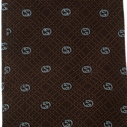 Gucci Brown Guccissima Patterned Silk Jacquard Traditional Tie