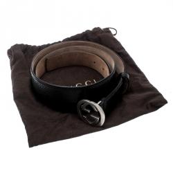 Gucci Black Python Interlocking GG Buckle Belt 105CM
