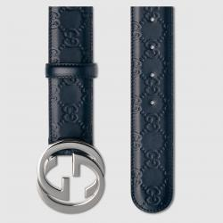 Gucci Blue Guccissima Leather Belt Size 90CM