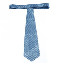 Gucci Pale Blue Monogram GG Pattern Silk Tie