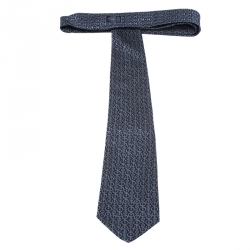 Gucci Blue Horesbit Patterned Jacquard Silk Tie