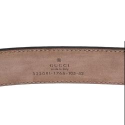 Gucci Dark Brown Diamante Leather Horsebit Buckle Belt 105CM
