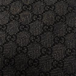 Gucci Brown Guccissima Logo Pattern Silk Jacquard Tie