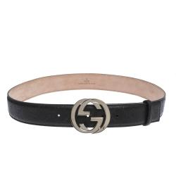 Gucci Black Guccissima Leather Interlocking G Belt 95CM