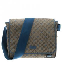 55f631556ea409 Gucci GG Beige/Light Blue Coated Canvas Star Diaper Messenger Bag