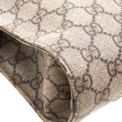 Gucci Beige GG Supreme Canvas Web 2Way Business Briefcase