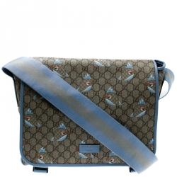 a4a43c9832a9 Gucci Beige Blue GG Supreme Canvas Zoo Birds Messenger Bag