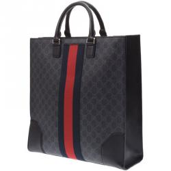 992ec778146d40 Gucci Black GG Supreme Coated Canvas Embroidered Angry Cat Tote