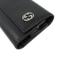 Gucci Black Leather Interlocking Key Case