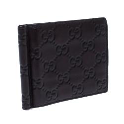 Gucci Dark Brown Guccissima Leather Money Clip Wallet