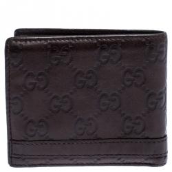 Gucci Dark Brown Guccissima Leather Metal Bar Bifold Wallet