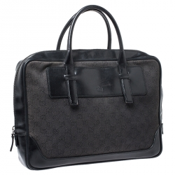Gucci Black GG Canvas and Leather Briefcase