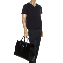 Gucci Black Leather Carry On Buckle Weekender Bag