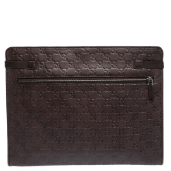Gucci Dark Brown Guccissima Leather Document Holder