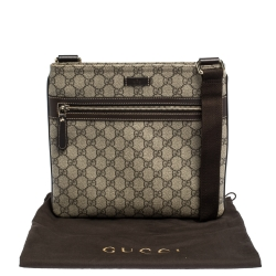 Gucci Beige/Brown GG Supreme Canvas and Leather Crossbody Bag