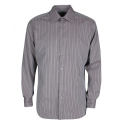 cead970a Gucci Grey Striped Cotton Long Sleeve Button Front Shirt XL