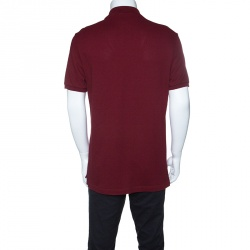 Gucci Red Bee Applique Detail Honeycomb Knit Polo T-Shirt XXL
