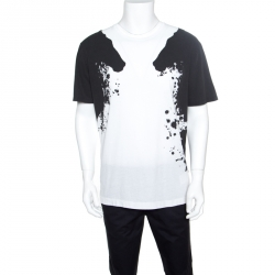 2cc6165cc95 Gucci Monochrome Paint Splatter Printed Cotton Jersey T-Shirt L