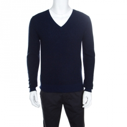6ca6719de95373 Gucci Dark Blue Textured Wool V Neck Sweater M