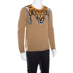 0157085066e7a Gucci Beige Tiger Patterned Jacquard Wool Crew Neck Sweater L