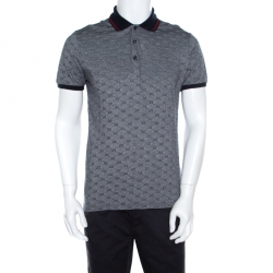 e1fa074e Gucci Navy Blue and White Monogram Jacquard Knit Polo T-Shirt L