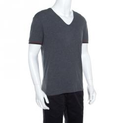 94d2c68a29f Gucci Grey Cotton Melange Web Stripe Trim V Neck T-Shirt S