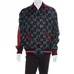 c403a1ea2 Gucci Multicolor Monogram Printed Silk Raglan Sleeve Ghost Bomber Jacket XXL