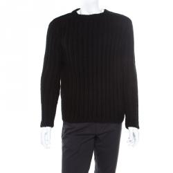d1454a975b0 Gucci Black Chunky Rib Knit Wool Mohair Crew Neck Sweater S