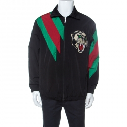 Gucci Black Web Stripe Tiger Embroidered Sports Jacket M