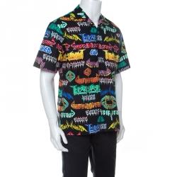 Gucci Multicolor Punk Graphic Print Cotton Short Sleeve Sport Shirt M