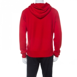 Gucci Red Cotton Jersey Donald Duck Distressed Detail Hoodie S