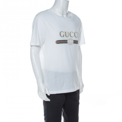 Gucci White Cotton Washed Out Logo Print T-Shirt L