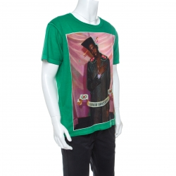 Gucci Green Printed Cotton  Omnia Vincit Amour T-Shirt M