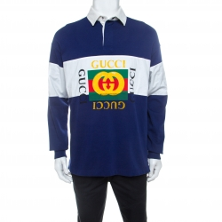 Gucci Navy Blue and White Striped Cotton Long Sleeve Polo T Shirt M