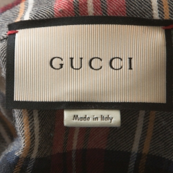 Gucci Red and Beige Dragon Embroidered Check Wool Shirt M