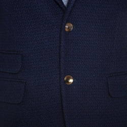 Gucci Navy Blue Wool Knit Regular Fit Blazer M