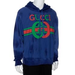 Gucci Purple Logo Print Cotton Washed Effect Hooded Sweatshirt M