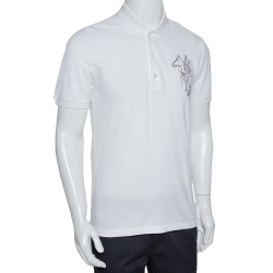 Gucci White Horse Embroidered Cotton Slim Fit Polo T-Shirt M